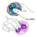 Illustration of Set fashionable trend for teenager. Fidget spinner with hand of hand drawn style with paint splashes. Vector illustration of Set fashionable Stock Photos