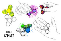 Illustration of Set fashionable trend for teenager. Fidget spinner with hand of hand drawn style with paint splashes Stock Images