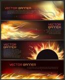 Illustration of set of fire flame banner Stock Image