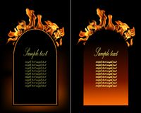 Illustration of set of fire flame banner. Royalty Free Stock Photo