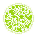 Illustration of set of flat icons depicting the goods for newborns. Illustration of a round shape green color from a set of flat icons depicting the goods for Stock Photos