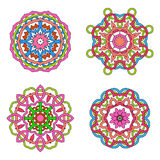 Illustration of set from four round ornament. Illustration of set from four round abstract ornamental mandala Royalty Free Stock Images