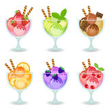 Illustration of a set of fruit ice cream in a glass beaker, dessert in a glass with a different taste. Royalty Free Stock Photos