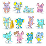 Illustration with a Set of funny colored mouses Royalty Free Stock Photos