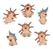 Illustration of a set funny hedgehogs. Cartoon Stock Photos