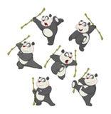 Illustration of a set of Funny Panda Bear. Cartoon Character Royalty Free Stock Images