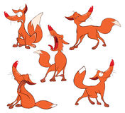 Illustration of a set of Funny Red Foxes. Cartoon Character Royalty Free Stock Image