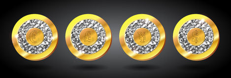 Set of golden signs with diamonds Stock Image