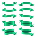 Set of green ribbon banners on white background. Illustration of Set of green ribbon banners on white background Stock Photography