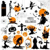 Happy Halloween holiday Design Element. Illustration of set of Happy Halloween holiday Design Element Royalty Free Stock Photos