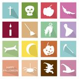 Illustration Set of 16 Happy Halloween Icons. Holidays And Celebrations, Illustration Collection of 16 Happy Halloween Icons for Halloween Celebration Stock Image