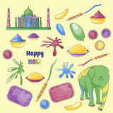 Illustration set of Holi element Stock Image