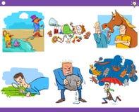 Cartoon sayings or proverbs set vector illustration