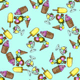 Illustration set of ice cream assorted. Seamless pattern. Stock Photography