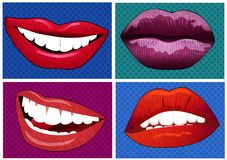 Illustration set of icons in pop art style lips Stock Photography