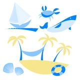 Illustration set of icons with vocation and sea Royalty Free Stock Photos