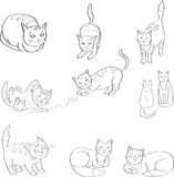 Illustration Set with the image of cats. black and white, line. Vector Stock Image