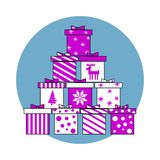 Vector Illustration set of isolated gift boxes. Pink decoration. For Christmas and New Year presents stock illustration