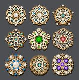 set of jewelry gold brooch with precious stones and pearls stock illustration