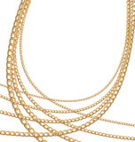 Set jewelry gold chains different size Royalty Free Stock Images