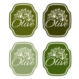 Illustration set of label with olive tree Royalty Free Stock Photography