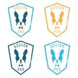 Illustration of set labels  boston terrier. Emblem for the B Stock Photo