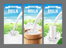 Illustration of a set of labels for milk and dairy. With milk splash and pouring. Realistic style Royalty Free Stock Photo