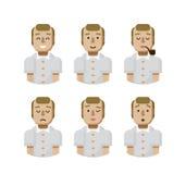 Illustration set male avatars, avatar with wide smile Royalty Free Stock Photos