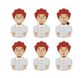 Illustration set male avatars, avatar with wide smile Royalty Free Stock Image