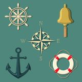 Ship`s wheel bell compass anchor lifebuoy in colour stock illustration