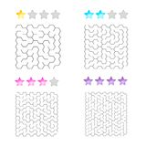 Illustration of set of 4 mazes of hexagons for kids at different levels of complexity Royalty Free Stock Photos