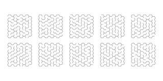 Illustration of set of 10 mazes of hexagons for kids. Vector illustration of set of 10 mazes of hexagons for kids vector illustration