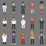Illustration set of men and professions pixel art design Stock Photography