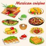 Set of Mexican cuisine dishes with soup, dorad. Illustration of a set of Mexican cuisine dishes with soup, dorado fish, buritos, envelopes de poyo, empanadiyas Royalty Free Stock Images