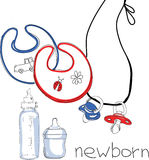 Illustration of set for newborn. Vector illustration of bib, bottle and nipple Stock Photos