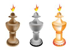 An Illustration Set of Old Fashioned Oil Lamp Stock Photo