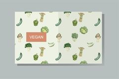 Illustration set of organic vegetable set on pale background Stock Images