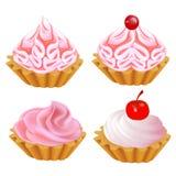 Of a set of pink cake vector illustration