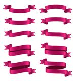 Set of pink ribbon banners on white background. Illustration of Set of pink ribbon banners on white background Stock Images