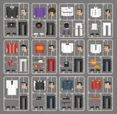 Illustration set of pixelated men and professions Stock Image