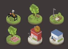 Illustration set of pixelated park and city models Royalty Free Stock Images