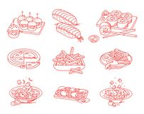 Cuisine, cooking, dishes. Set of illustrations. stock image