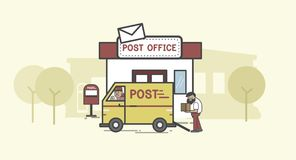 Illustration set of post delivery Stock Images