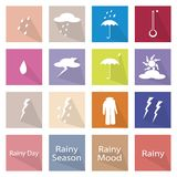 Illustration Set of 16 Rainy Season Flat Icon Royalty Free Stock Photo