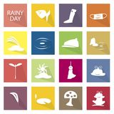 Illustration Set of 16 Rainy Season Icon. Illustration Collection of Rainy Season or Monsoon Season Icons, One of The Four Temperate Seasons Vector Illustration