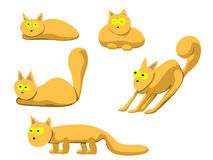 Illustration of set of red cats in different poses Stock Photos