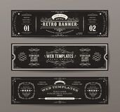 Vintage Web Banners Templates Set. Illustration of a set of retro design website templates, with floral patterns and ornaments on chalkboard wide background Royalty Free Stock Images