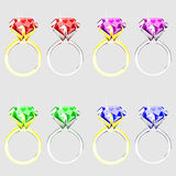 Illustration set of rings with precious stones vector illustration