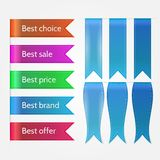 Illustration of set of sale ribbons. Set of blank and sample text colorful ribbons for sale. Isolated illustrations on white background Stock Photos