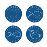 Illustration set of seafood Labels in retro style. Stock Image